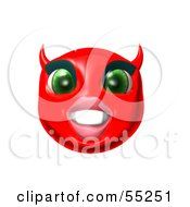 3d Red She Devil Emoticon Face Grinning