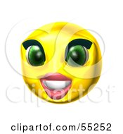 Royalty Free RF Clipart Illustration Of A 3d Yellow Female Smiley Face Smiling by Julos