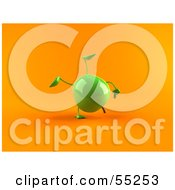 Royalty Free RF Clipart Illustration Of A 3d Green Apple Character Doing A Cartwheel Version 2