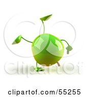 3d Green Apple Character Doing A Cartwheel Version 1 by Julos