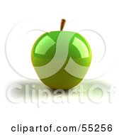 3d Green Apple With Light Shining Off Of The Skin Version 1 by Julos