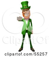 Royalty Free RF Clipart Illustration Of A Friendly 3d Leprechaun Man Character Holding Out A Blank Business Card Version 2 by Julos