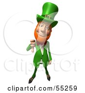 Royalty Free RF Clipart Illustration Of A Friendly 3d Leprechaun Man Character Giving The Thumbs Down by Julos