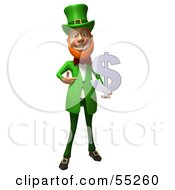 Royalty Free RF Clipart Illustration Of A Friendly 3d Leprechaun Man Character Holding A Dollar Symbol Version 4