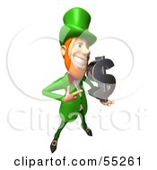 Royalty Free RF Clipart Illustration Of A Friendly 3d Leprechaun Man Character Holding A Dollar Symbol Version 3 by Julos
