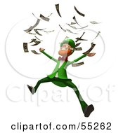 Royalty Free RF Clipart Illustration Of A Friendly 3d Leprechaun Man Character Throwing Cash Version 3 by Julos