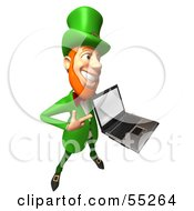 Royalty Free RF Clipart Illustration Of A Friendly 3d Leprechaun Man Character Holding A Laptop Version 1 by Julos