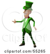 Royalty Free RF Clipart Illustration Of A Friendly 3d Leprechaun Man Character Pointing His Hand Like A Gun Version 1 by Julos