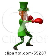 Royalty Free RF Clipart Illustration Of A Friendly 3d Leprechaun Man Character Boxing Version 6 by Julos