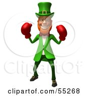 Royalty Free RF Clipart Illustration Of A Friendly 3d Leprechaun Man Character Boxing Version 1 by Julos