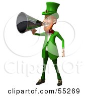 Royalty Free RF Clipart Illustration Of A Friendly 3d Leprechaun Man Character Announcing Through A Megaphone Version 5 by Julos