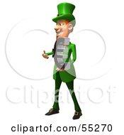 Friendly 3d Leprechaun Man Character Holding A Euro Symbol - Version 1