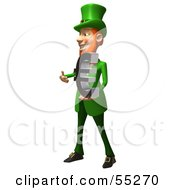 Royalty Free RF Clipart Illustration Of A Friendly 3d Leprechaun Man Character Holding A Euro Symbol Version 1