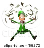 Royalty Free RF Clipart Illustration Of A Friendly 3d Leprechaun Man Character Throwing Cash Version 2 by Julos