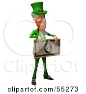 Royalty Free RF Clipart Illustration Of A Friendly 3d Leprechaun Man Character Holding A Large Dollar Bill Version 2 by Julos