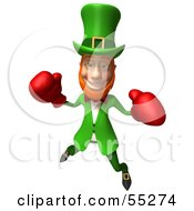 Royalty Free RF Clipart Illustration Of A Friendly 3d Leprechaun Man Character Boxing Version 4 by Julos