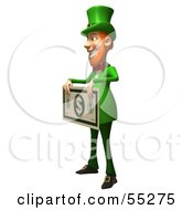Royalty Free RF Clipart Illustration Of A Friendly 3d Leprechaun Man Character Holding A Large Dollar Bill Version 1 by Julos