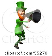 Royalty Free RF Clipart Illustration Of A Friendly 3d Leprechaun Man Character Announcing Through A Megaphone Version 4 by Julos