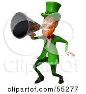 Friendly 3d Leprechaun Man Character Announcing Through A Megaphone - Version 3