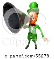 Royalty Free RF Clipart Illustration Of A Friendly 3d Leprechaun Man Character Announcing Through A Megaphone Version 2 by Julos
