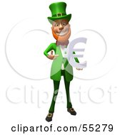 Royalty Free RF Clipart Illustration Of A Friendly 3d Leprechaun Man Character Holding A Euro Symbol Version 4