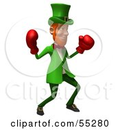 Royalty Free RF Clipart Illustration Of A Friendly 3d Leprechaun Man Character Boxing Version 3 by Julos