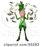 Royalty Free RF Clipart Illustration Of A Friendly 3d Leprechaun Man Character Throwing Cash Version 1 by Julos