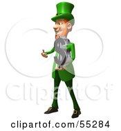 Friendly 3d Leprechaun Man Character Holding A Dollar Symbol - Version 2