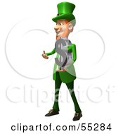 Royalty Free RF Clipart Illustration Of A Friendly 3d Leprechaun Man Character Holding A Dollar Symbol Version 2