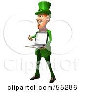 Friendly 3d Leprechaun Man Character Holding A Laptop - Version 3