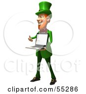 Royalty Free RF Clipart Illustration Of A Friendly 3d Leprechaun Man Character Holding A Laptop Version 3 by Julos