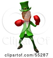 Royalty Free RF Clipart Illustration Of A Friendly 3d Leprechaun Man Character Boxing Version 2 by Julos