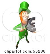 Royalty Free RF Clipart Illustration Of A Friendly 3d Leprechaun Man Character Holding A Euro Symbol Version 3