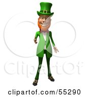 Royalty Free RF Clipart Illustration Of A Friendly 3d Leprechaun Man Character Reaching His Hand Out by Julos