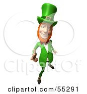 Friendly 3d Leprechaun Man Character Pointing His Hand Like A Gun - Version 3
