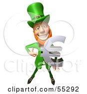 Royalty Free RF Clipart Illustration Of A Friendly 3d Leprechaun Man Character Holding A Euro Symbol Version 2 by Julos