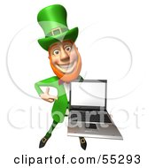 Royalty Free RF Clipart Illustration Of A Friendly 3d Leprechaun Man Character Holding A Laptop Version 2 by Julos