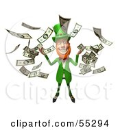 Royalty Free RF Clipart Illustration Of A Friendly 3d Leprechaun Man Character Throwing Cash Version 4 by Julos