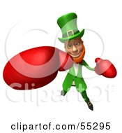 Royalty Free RF Clipart Illustration Of A Friendly 3d Leprechaun Man Character Boxing Version 5 by Julos