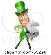 Royalty Free RF Clipart Illustration Of A Friendly 3d Leprechaun Man Character Holding A Dollar Symbol Version 1 by Julos