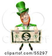 Royalty Free RF Clipart Illustration Of A Friendly 3d Leprechaun Man Character Holding A Large Dollar Bill Version 4 by Julos