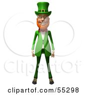 Friendly 3d Leprechaun Man Character Facing Front