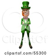 Royalty Free RF Clipart Illustration Of A Friendly 3d Leprechaun Man Character With His Arms Crossed Version 1 by Julos