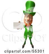 Royalty Free RF Clipart Illustration Of A Friendly 3d Leprechaun Man Character Holding Out A Blank Business Card Version 1 by Julos