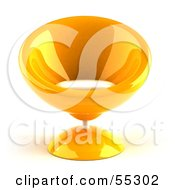 Royalty Free RF Clipart Illustration Of A 3d Yellow Bubble Chair Facing Front