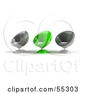 Royalty Free RF Clipart Illustration Of Three Gray And Green 3d Bubble Chairs Facing Left