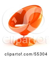 Royalty Free RF Clipart Illustration Of A 3d Orange Bubble Chair Facing Left by Julos