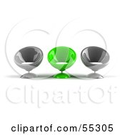Royalty Free RF Clipart Illustration Of Three Gray And Green 3d Bubble Chairs Facing Front