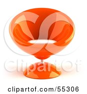 Royalty Free RF Clipart Illustration Of A 3d Orange Bubble Chair Facing Front by Julos