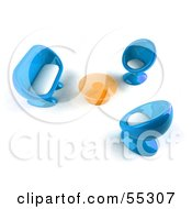 Royalty Free RF Clipart Illustration Of A View Down On Blue 3d Bubble Chairs A Coffee Table And Sofa Version 2